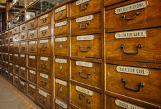 Apothecary chest with drawers. Apothecary wood chest with drawers Stock Photo