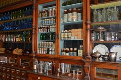 Apothecary at Fort Edmonton, Edmonton, Alberta. Old western apothecary pharmacy chemist drug store display at Fort Edmonton historic park in Edmonton, Alberta stock image