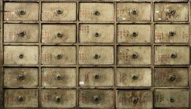 Apothecary asian drawers - retro furniture. Apothecary, ragged asian drawers - retro furniture stock photo