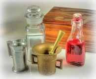 Apothecary's Bench. Apothecary or chemist laboratory equipment in a still life presentation royalty free stock image