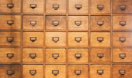 Apothecary wood chest with drawers. 30 drawers stock photos
