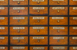 Apothecary wood chest with drawers Stock Photos