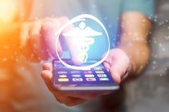 Apotheekpictogram die een smartphoneinterface - conc technologie uitgaan Stock Afbeelding
