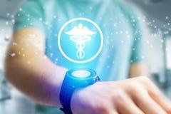 Apotheekpictogram die een smartwatchinterface - conc technologie uitgaan Stock Fotografie