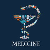 Apotheeksymbool met medische vlakke pictogrammen Stock Foto's