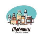 Apotheke, Drugstoreaufkleber Medizinische Bedarfe, Flaschenflüssigkeiten, Pillen, Kapselikone oder Logo Beschriftungsvektor lizenzfreie abbildung