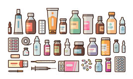 Apotheke, Medikation, Flaschen, Pillen, Kapseln stellte Ikonen ein Drugstore, Medizin, Krankenhauskonzept Vektorillustration in stock abbildung