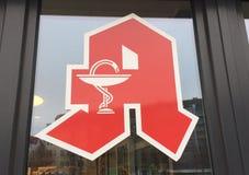 Apotheke, pharmacy store sign in German language. Berlin, Germany - November 22, 2017: Apotheke, pharmacy store sign in German language outside a store Royalty Free Stock Photo
