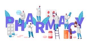 Apotheken-Geschäfts-Drogerie-Industrie-Charakter-Typografie-Plakat Apotheker Cure Patient Berufsdrugstore-Produkt lizenzfreie abbildung