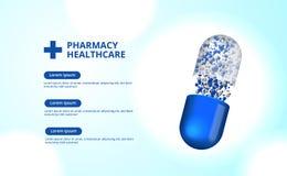 Apothekenpillen kapseln Illustration des Medizingesundheitswesens 3D ein lizenzfreie abbildung