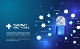 Apothekenpillen kapseln Illustration des Medizingesundheitswesens 3D ein stock abbildung