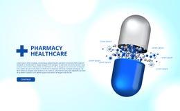 Apothekenpillen kapseln Illustration des Medizingesundheitswesens 3D ein vektor abbildung