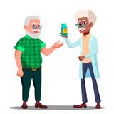 Apotheker Giving The Pills aan de Vector van de Apotheekklant Geïsoleerde beeldverhaalillustratie vector illustratie