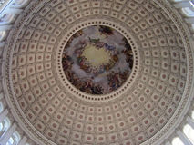 Ceiling of Capitol Hill. A striking fresco on the rotunda of Capitol Hill painted by Constantino Brumidi in 1865 Stock Photos