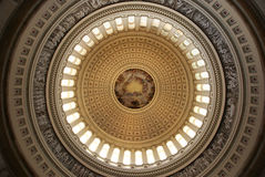 The Apotheosis of Washington. Is the immense fresco painted by Italian artist Constantino Brumidi in 1865 and visible through the oculus of the dome in the Stock Photo