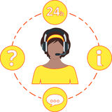 Apoye el color, los iconos del servicio y las auriculares amarillos femeninos Imágenes de archivo libres de regalías