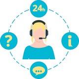 Apoye el color, los iconos del servicio y las auriculares azules femeninos Imagen de archivo libre de regalías