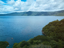 Apoyo lagoon in Nicaragua. Aerial drone view. Panoramic view on lagoon Stock Image