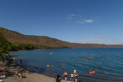 Apoyo laguny widok z ludźmi Masaya, Nikaragua Zdjęcie Royalty Free