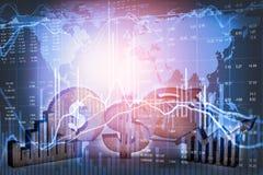 Apoyos del negocio de la exposición doble en el crecimiento financiero común econom Foto de archivo libre de regalías