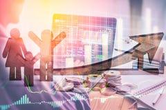 Apoyos del negocio de la exposición doble en el crecimiento financiero común econom Imagen de archivo