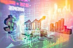 Apoyos del negocio de la exposición doble en el crecimiento financiero común econom Imágenes de archivo libres de regalías
