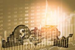Apoyos del negocio de la exposición doble en el crecimiento financiero común econom Foto de archivo