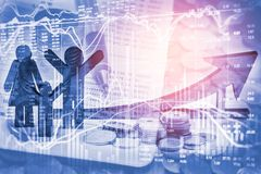 Apoyos del negocio de la exposición doble en el crecimiento financiero común econom Imagen de archivo libre de regalías