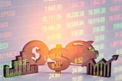 Apoyos del negocio de la exposición doble en el crecimiento financiero común econom Imagenes de archivo