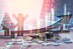 Apoyos del negocio de la exposición doble en el crecimiento financiero común econom Fotografía de archivo libre de regalías
