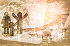 Apoyos del negocio de la exposición doble en el crecimiento financiero común econom Fotografía de archivo
