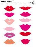 Apoyos imprimibles del vector de la cabina de la foto fijados Diversas formas y labios de los colores DIY stock de ilustración