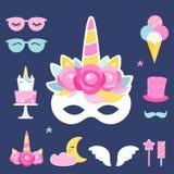 Apoyos y decoraciones de la foto de Unicorn Birthday o de la fiesta de pijamas Diseño del vector Fotografía de archivo libre de regalías