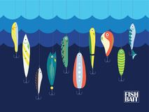 Appât de couleur différente avec de grands et petits poissons de bande dessinée en océan ou mer Marine Background With Baits bleu illustration libre de droits