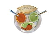 Appétit de fève (pain et sauces) Photographie stock