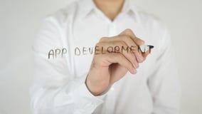 App发展,写在玻璃 免版税库存照片