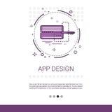 App έμβλημα τεχνολογίας συσκευών προγραμματισμού υπολογιστών ανάπτυξης λογισμικού σχεδίου με το διάστημα αντιγράφων ελεύθερη απεικόνιση δικαιώματος