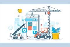 App αναπτυξιακή διαδικασία Κατασκευή του σχεδίου Ιστού Διανυσματική απεικόνιση στο επίπεδο γραμμικό ύφος Στοκ φωτογραφία με δικαίωμα ελεύθερης χρήσης