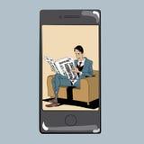 App για την εφημερίδα ατόμων Τύπου ανάγνωσης Στοκ Εικόνες