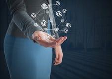 App εικονίδια που συνδέονται και επιχειρηματίας με το ανοικτό και σκοτεινό υπόβαθρο παλαμών χεριών Στοκ Εικόνα