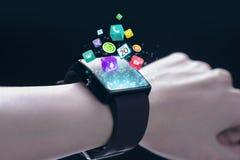 App εικονίδια με το smartwatch Στοκ φωτογραφία με δικαίωμα ελεύθερης χρήσης
