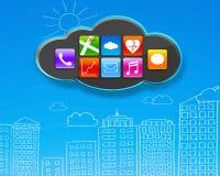 App εικονίδια στο μαύρο σύννεφο με τα μπλε κτήρια ουρανού doodles Στοκ φωτογραφία με δικαίωμα ελεύθερης χρήσης