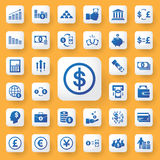 App εικονίδια χρημάτων και επιχειρήσεων εικονιδίων καθορισμένα επίσης corel σύρετε το διάνυσμα απεικόνισης Στοκ Φωτογραφία