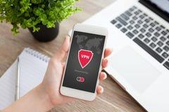 App εκμετάλλευσης γυναικών τηλεφωνικό vpn protecti πρωτοκόλλων Διαδικτύου δημιουργιών Στοκ φωτογραφία με δικαίωμα ελεύθερης χρήσης