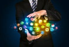 App εκμετάλλευσης επιχειρηματιών σύννεφο εικονιδίων Στοκ Φωτογραφία