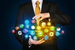 App εκμετάλλευσης επιχειρηματιών σύννεφο εικονιδίων Στοκ Φωτογραφίες
