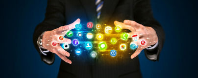 App εκμετάλλευσης επιχειρηματιών σύννεφο εικονιδίων Στοκ φωτογραφία με δικαίωμα ελεύθερης χρήσης