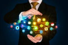 App εκμετάλλευσης επιχειρηματιών σύννεφο εικονιδίων Στοκ Εικόνα