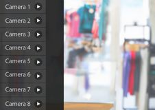 App κάμερων ασφαλείας κατάστημα ενδυμάτων διεπαφών Στοκ Εικόνες