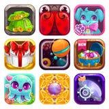 App κινούμενων σχεδίων εικονίδια για το σχέδιο παιχνιδιών ή Ιστού απεικόνιση αποθεμάτων
